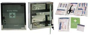 mittlerer Erste- Hilfe- Schrank Edelstahl mit Glastür- mit Füllung DIN 13157
