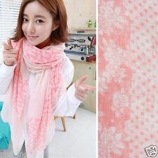 Fashion Pink Floral Dot Print Women Long Cotton Scarf Wrap Shawl Large Scarves