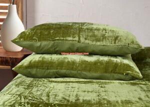 Large Art Indian Solid Luxury Crushed Sham Bedding Velvet Pillow Cover Set of 2