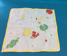 Vintage Pair Childs Hankies Clown Rabbit 40s 50s Cotton