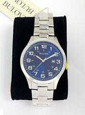 Bulova Men Quartz Watch 96B273  Stainless steel Date calendar BLUE dial # w/ Box