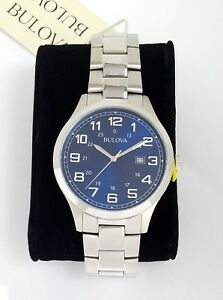 Bulova Men Quartz Watch 96B273  Stainless steel Date calendar BLUE dial # w/ Box