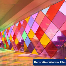Adhesive Window Stained Sticker Transparent Colorful Tint Privacy Home Mall Deco
