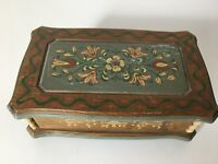 Vintage Reuge Swiss Musical Movement Handpainted Wooden Music Box