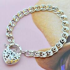 "9K Solid White Gold Filled and Ornate Bracelet With Heart Locket ""Stamp 9K"" 18cm"