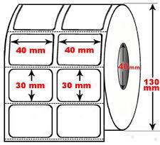 Rotolo da 5000 etichette adesive mm 40x30 Termiche 2 piste anima 40