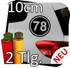 2x 10cm Nummer frei wählbar Startnummer Auto Autoaufkleber Mottorrad Sport No.2