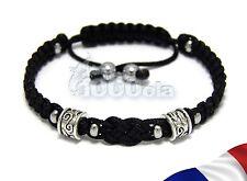 Sublime BRACELET Homme STYLE Tibétain 2 Perles en métal+HEMATITE+fil nylon NOIR