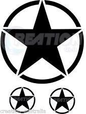 3 SET JEEP WRANGLER MILITARY STAR HOOD BONNET MATT BLACK STICKERS DECALS