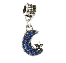 925 Silver CZ Moon and stars pendant Fit European Charm Bead Bracelet A#140