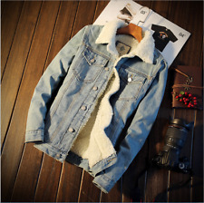 Men's Fleece Lined Winter Warm Coat Trucker Denim/Jean Fur Collar Jacket New
