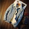 Men's Fleece Lined Winter Warm Coat Trucker Denim/Jean Fur Collar Jacket XL-5XL