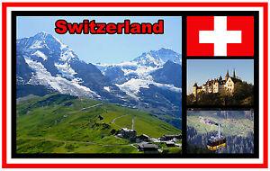 SWITZERLAND - SOUVENIR NOVELTY FRIDGE MAGNET - SIGHTS / FLAG / BRAND NEW / GIFTS