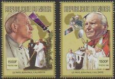 PAIR OF POPE JOHN PAUL II CATHOLIC RELIGION NIGER 1998 MNH STAMPS