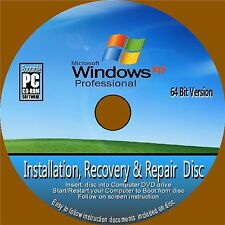 WINDOWS XP PROFESSIONAL 64 Bit Inc SP2 INSTALLATION RECOVER REPAIR DVD ROM NEW
