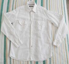 Mason's Military Shirt Mens Size M Medium White Linen Cotton Roll Up Sleeve