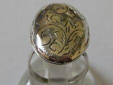 Ring, Locket, Engraved - Uk Size R Nr Fine Vtg/Antique 925 Solid Silver Poison