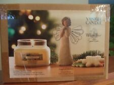 Yankee Candle Christmas Cookie Jar Candle & Willow Tree Angel of Wishes Figurine
