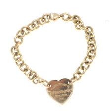 Tiffany & Co. 18K Yellow Gold Return To Tiffany Heart Charm Chain Bracelet 7.25'