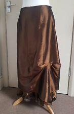 Bronze Taffeta Victorian Steampunk Hitched Lace Trim Gothic Skirt UK 12/14