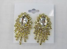 Gold Dangle Clear Rhinestone Crystal CLIP ON Earrings # 5237G Wedding Prom Dance