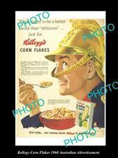 OLD LARGE HISTORIC AUST KELLOGS CORN FLAKES ADVERTISEMENT PHOTO, 1960 FIREMAN