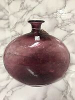 "Amici Glass Sophia Bottle Purple Controlled Bubble 7 3/4"" Vase"