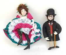 PAIR 2002 SIGNED GLADYS BOALT CAN CAN DANCER + HENRI TOULOUSE CHRISTMAS ORNAMENT