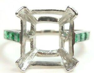 Antique Art Deco Vintage Emerald Cut Mounting Setting Plat 12x11.6.25 Rg Sz 6.75
