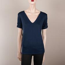RALPH LAUREN Damen Shirt L 40 Blau V Ausschnitt Top Oberteil Ärmel hochknöpfbar