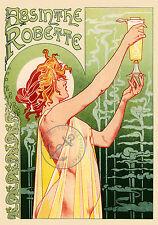 Vintage Affiche Absinthe Robette français nouveau d'impression A3 Art Publicité Vert