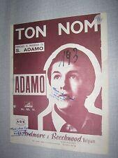 PARTITION MUSICALE BELGE ADAMO TON NOM