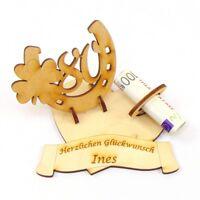 Geldgeschenk Personalisiert Geburtstags Zahl 80 Hufeisen  Namensgravur Holz