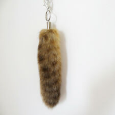 Hot Real Large American Raccoon Tail Fur Keychain Tassel Bag Tag Charm