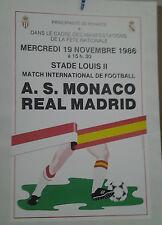 AFFICHE ANCIENNE A S MONACO REAL MADRID FOOTBALL STADE LOUIS II MONTE CARLO 1986