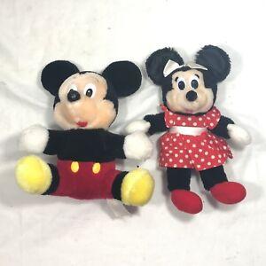 "Vintage Disneyland Walt Disney World Mickey Minnie Mouse Stuffed Animal Plush 7"""