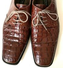 STACY ADAMS Men's Brown Crocodile Embossed Leather Oxford Dress Shoes Size 9.5 M