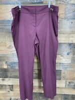 Ann Taylor Loft Women Maroon Linen Blend Julie Fit Flat Front Ankle Length Pants