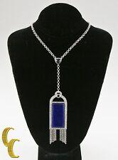 Badgley Mischka 18ct Oro Blanco Diamante Iolita Azul Lapislázuli