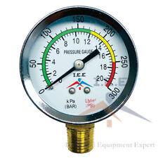 Air Compressor Pressure Hydraulic Gauge 2 Face Side Mount 14 Npt 0 300 Psi