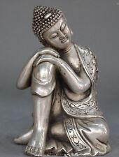 Old Tibetan Buddhism Sakyamuni Buddha Seat Sleep Tibet Silver Statue