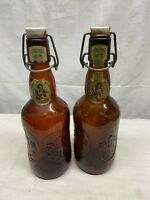 VTG Brown Glass Porcelain Cap Reusable German Beer Bottles GROLSCH Lot of 2