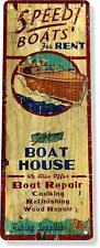 Speed Boats Rent Lake Beach House Marina Classic Boat Metal Decor