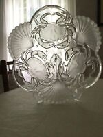 """Mikasa Sea Fare 12.5"""" Frosted Glass Crab & Shell Serving Fruit Bowl Pasta Dish"""