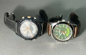 2X MENS TIMEX EXPEDITION BLACK GREEN DIAL FIELD ANA DIGI LEATHER BAND WATCHES