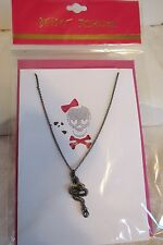 Betsey Johnson Serpent Snake Pendant Chain Gunmetal Hematite Necklace NWT