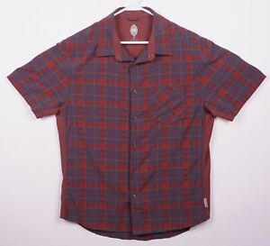 Club Ride Men Large Pearl Snap Cycling Red/Orange Blue Plaid Short Sleeve Shirt