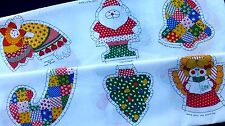 Christmas Tree Ornaments Fabric Panel Craft Cut Sew Stuff Santa Angel Patchwork