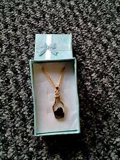 Jewelry Fashion Drifting Bottle Rhinestone black Heart Pendant Necklace Golden