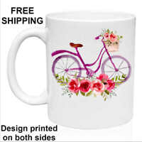 Floral Bicycle, Birthday, Christmas Gift, White Mug 11 oz, Coffee/Tea